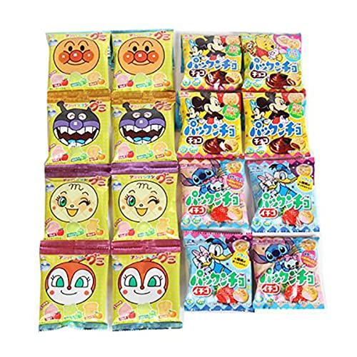 キャラクターセット!スヌーピー巾着(小)にディズニー柄パックンチョ(チョコ・イチゴ)とアンパンマングミセット(小袋食べきりサイズ) おかしのマーチ (omtmb7525)