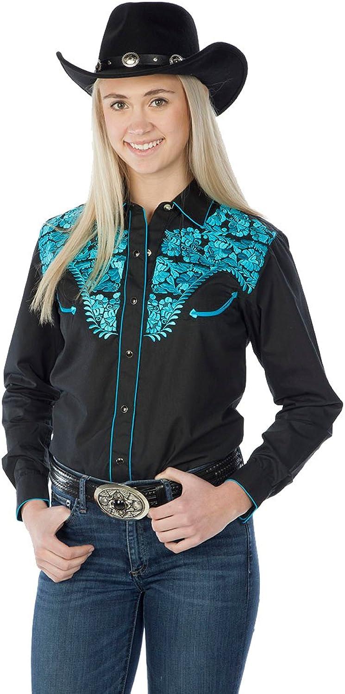 Sunrise Outlet Women's Tooled Western Shirt  Black bluee