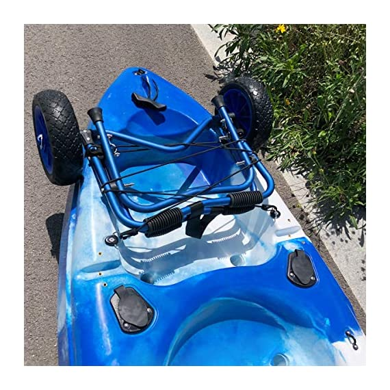 Newcod kayak cart kayak trolley carrier dolly trailer for canoe boat with no-flat airless tires wheels 6 【good quality】22x1. 5mm aluminum tube with rubber pads. 【pu wheel】with two pu solid wheels, don't need to inflate. 【capacity】this kayak cart can be loaded 165lbs.