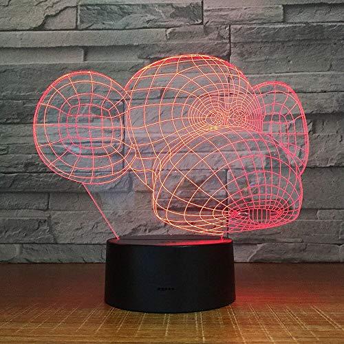 jiushixw 3D acryl nachtlampje met afstandsbediening kleurverandering tafellamp bijzettafel Mango