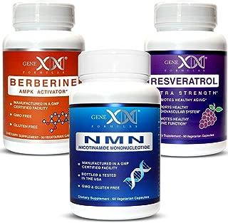 Genex NMN, Resveratrol & Berberine Power Pack - Nicotinamide Mononucleotide Direct NAD+ Supplement (2X 125mg Capsules 60ct) Resveratrol 1500mg (x3 500mg Capsules 90ct) Berberine (500mg Capsules 90ct)