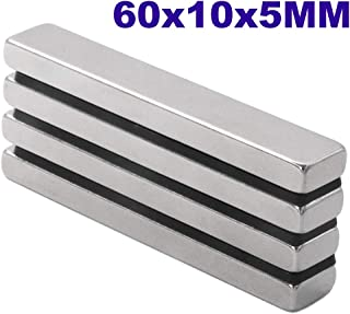 Super Strong Neodymium Bar Magnets, DIY, Building, Scientific, Craft, and Office NdFeB Permanent Neodymium Magnets - 60 x 10 x 5 mm