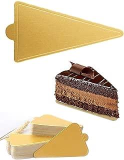 HansGo Mini Triangle Golden Cardboard Cake Base, 100PCS Cake Paper Plates Circle Cardboard Base Dessert Board Base Grease,Durable Pastry Cardboard