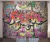 ABAKUHAUS urban Graffiti Rustikaler Vorhang, Surreale Malerei, Wohnzimmer Universalband Gardinen mit Schlaufen und Haken, 280 x 225 cm, Mehrfarbig