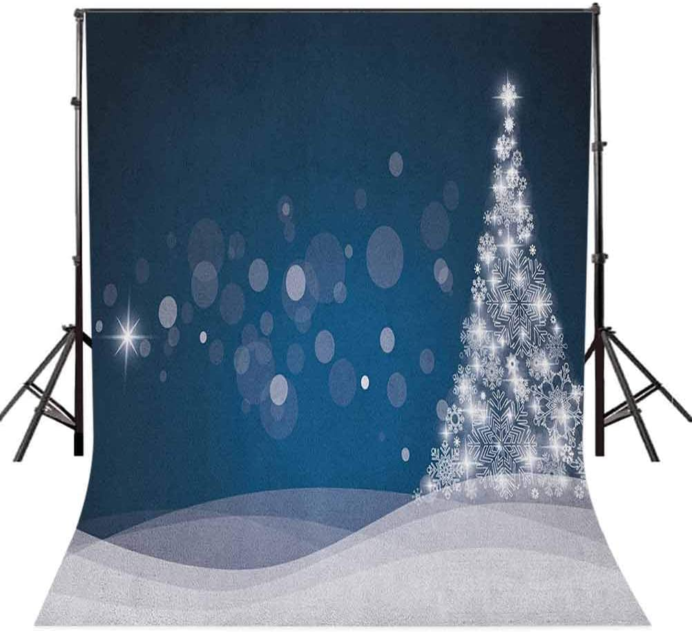 8x12 FT Christmas Vinyl Photography Background Backdrops,Fantasy Backdrop Abstract Xmas Tree Dreamlike Snowflakes Dots Wintertime Background for Selfie Birthday Party Pictures Photo Booth Shoot