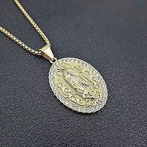 Zaaqio Collar con Colgante de Virgen María de Color Dorado para Hombres y Mujeres, Collares de Cadena de Acero Inoxidable 316L, Regalos de circón