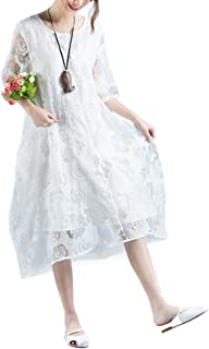 emelun 花柄マキシワンピース 綿麻混 大きいサイズ 重ね着 森ガール 体型カバー 透け感 チュニック