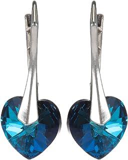 Crystal Diva Women's Silver Navy Blue Swarovski Elements Earrings