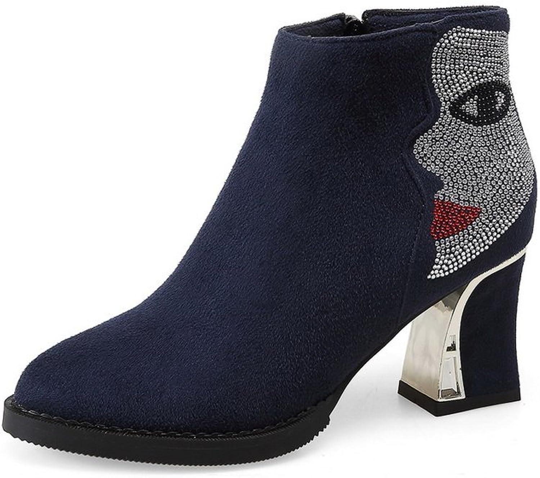 AdeeSu Girls Chunky Heels Glass Diamond Winkle Pinker Frosted Boots