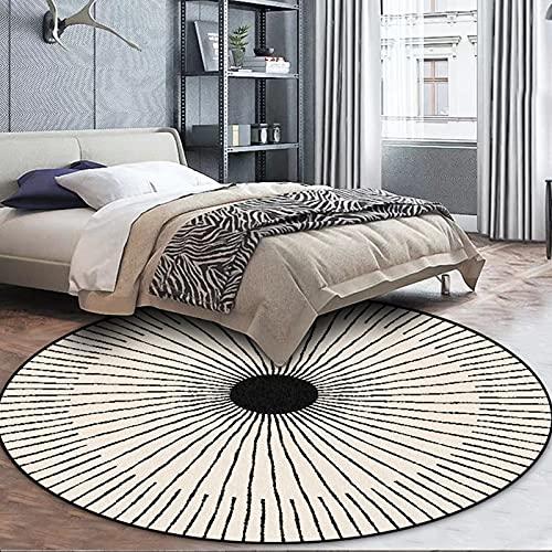Tapis de zone ronde beige noir 60cm 80cm 100cm 120cm 140cm 160cm de style simple tapis de style pour salon Chambre à coucher Chambre à coucher Tapis de sol antidérapant (Size : Diamètre 160cm)