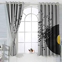 VIVIDX Indoor/Outdoor Curtains Music Abstract Design Flying Music Notes Disc Album Dancing Nightclub Print W72x63L Inches Complete Darkness, Noise Reducing Curtain Ivory Black and Yellow