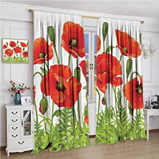 Ladybugs Decorations Collection Horizontal Border with Poppy Flower Bud Poppies Chamomile Wildflowers Lawn Design Thermal Insulating Blackout Curtain Red Green W84xL96