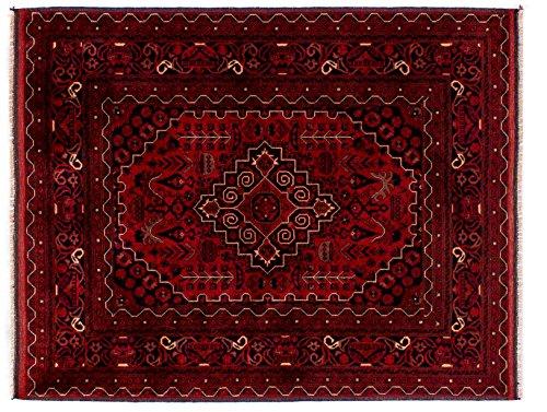 Lifetex.eu - Alfombra con diseño de Buchara Khatun Afganistán, Aprox. 135 x 105 cm · Rojo · Hecha a Mano · Lana Virgen · Clásica · Alfombra LT16054