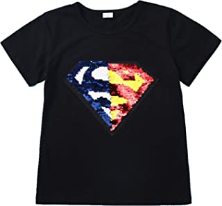 Flip Sequin for Boys T-Shirt Cotton Crewneck Short Sleeve Tees Tops 3-12 Years (Size 3-14)