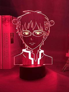 BTEVX Luz de noche 3D Lámparas de de ilusión LED Lámpara para niños Anime La vida desastrosa de Saiki K Luz de noche LED para de dormitorio Luz de noche colorida Regalo de anime Lámpara 3D Saiki K