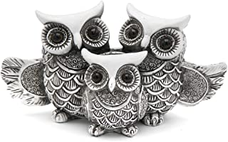 Rockin Owl Figurine Family Set Very Cute Statue, White Owls - Open Wings All Together - Nice Decoration for Home Office Set of 3, White/Black