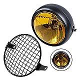TASWK Universal Motorcycle 6 1/2' Amber Headlight + Headlamp Cover Mesh Grill Cafe Racer Bobber