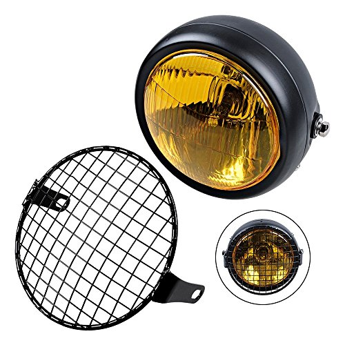 "TASWK Universal Motorcycle 6 1/2"" Amber Headlight + Headlamp Cover Mesh Grill Cafe Racer Bobber"