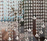 E EBETA 33 Ft Crystal Acrylic Gems Bead Garland Strands Hanging Octagon Prism Bead Chain Garlands for Wedding Home DIY Craft Jewelry Party Christmas Tree Decoration (with Diamond Pendant)