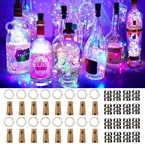 16 Stück Flaschen-Licht JRing 20 LEDs 2M Flaschenlicht Mehrfarbig Lichterkette korken Stimmungslichter Weinflasche Nacht Licht für Flasche DIY, Party, Garten, Weihnachten, Halloween, Hochzeit Deko