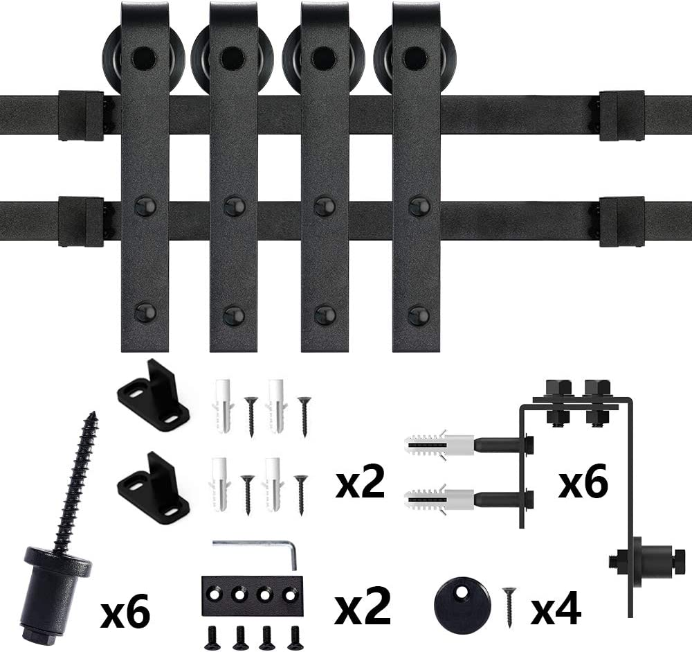 skysen 8FT Low Ceiling Heavy Duty Sliding Barn Door Hardware Double Track Bypass Double Door Kit Black Bypass J Shape-2