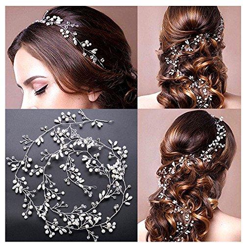 Amorar Kristall Haarkette Flechtfrisur Haarband, Hochzeit Perlen Haarschmuck Kette Hairband Braut Handbuch Haargesteck Haar Zubehör,EINWEG Verpackung