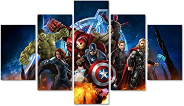 DJSYLIFE 5 Piece Super Hero Canvas Wall Art Painting for Living Room Home Decor Movie Poster Artwork Unframed (No Frame,On...