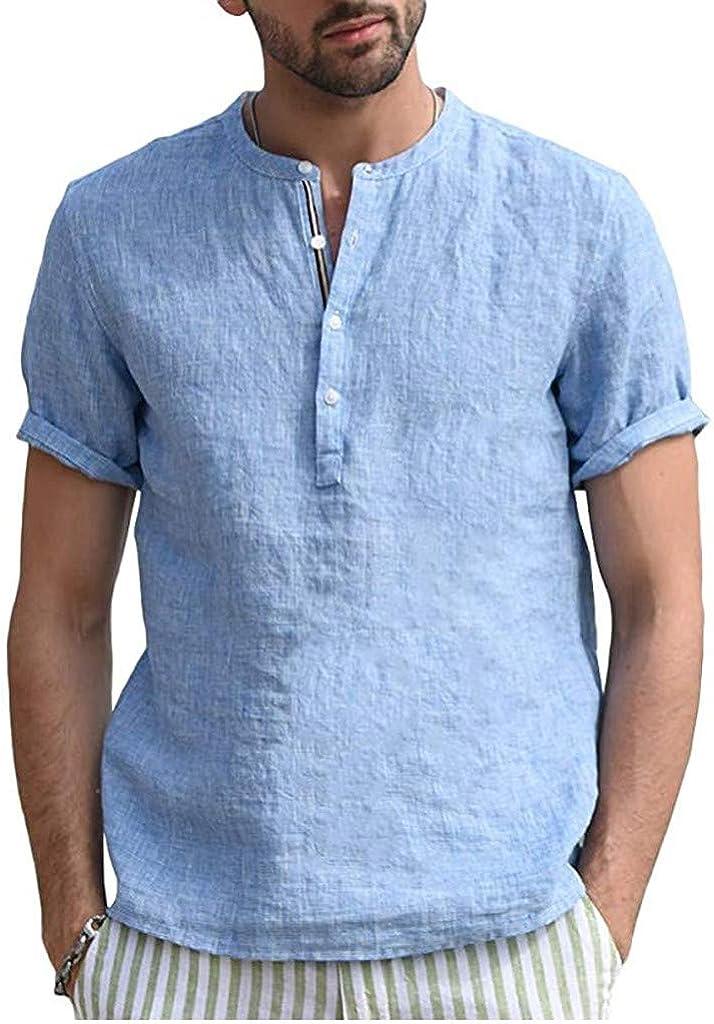 WUAI-Men Casual Short Sleeve Polo Shirts Beach Linen Cotton Yoga Summer Casual Henley Tops Blouse