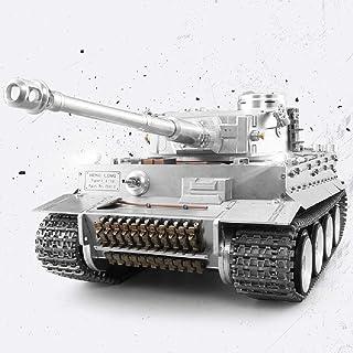 CGIIGI 1:16 Full Metal Simulation Tank Wireless Remote Control Alloy German Tiger I Tank 2.4G Remote Control Smoking Toy Model Sandbox Chariot Adult Tank War Toy Easter