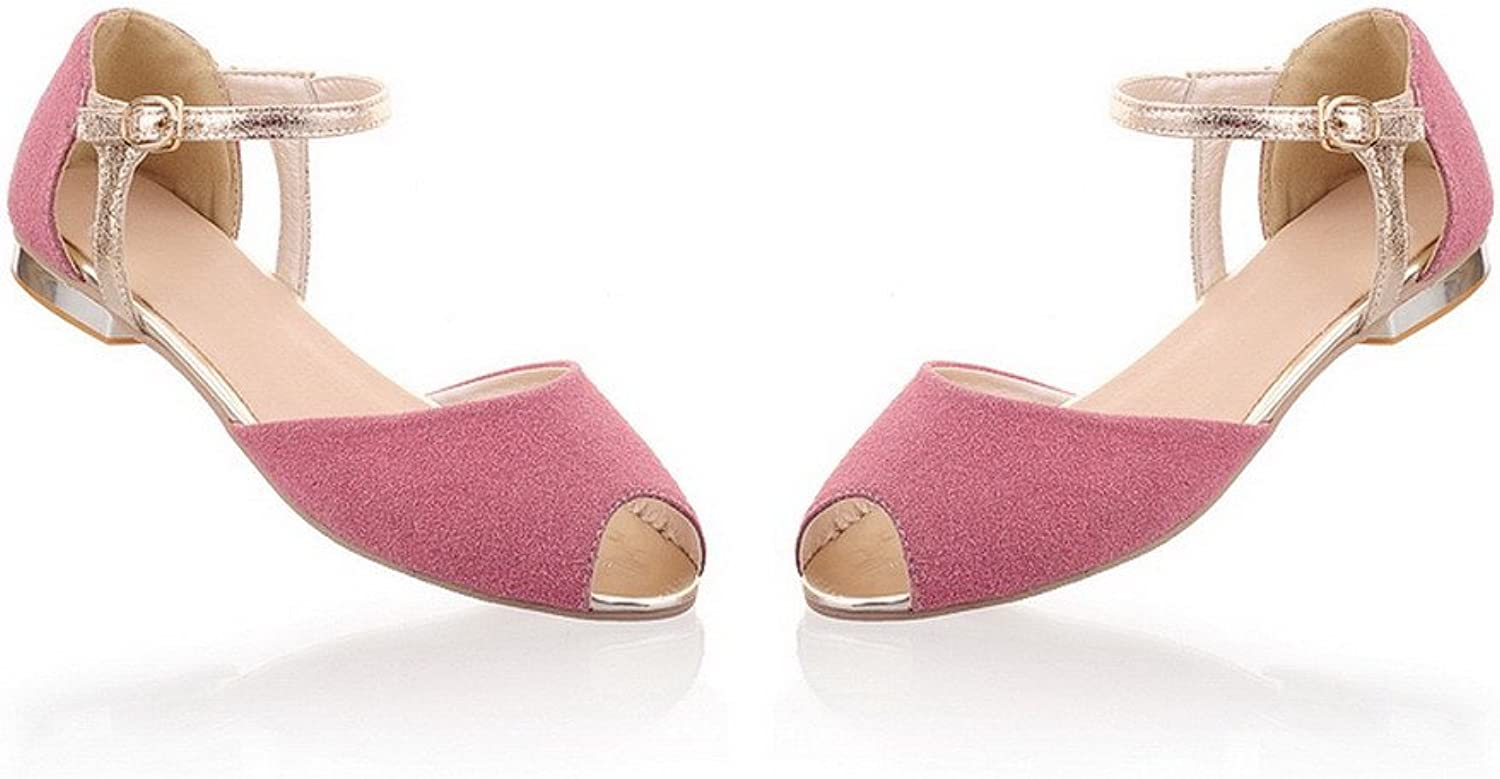 540c68fdb869b AmoonyFashion Womens Open Toes Imitated Suede Solid Sandals, Pink ...
