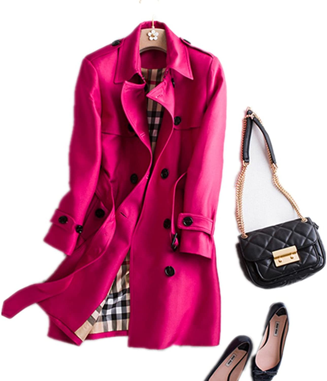 Bobbycool Ladies Fashion Red Long Slim Windbreaker Jacket