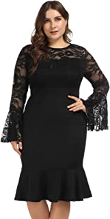 Hanna Nikole Womens Bell Sleeves Lace Top Plus Size Cocktail Party Mermaid Dress