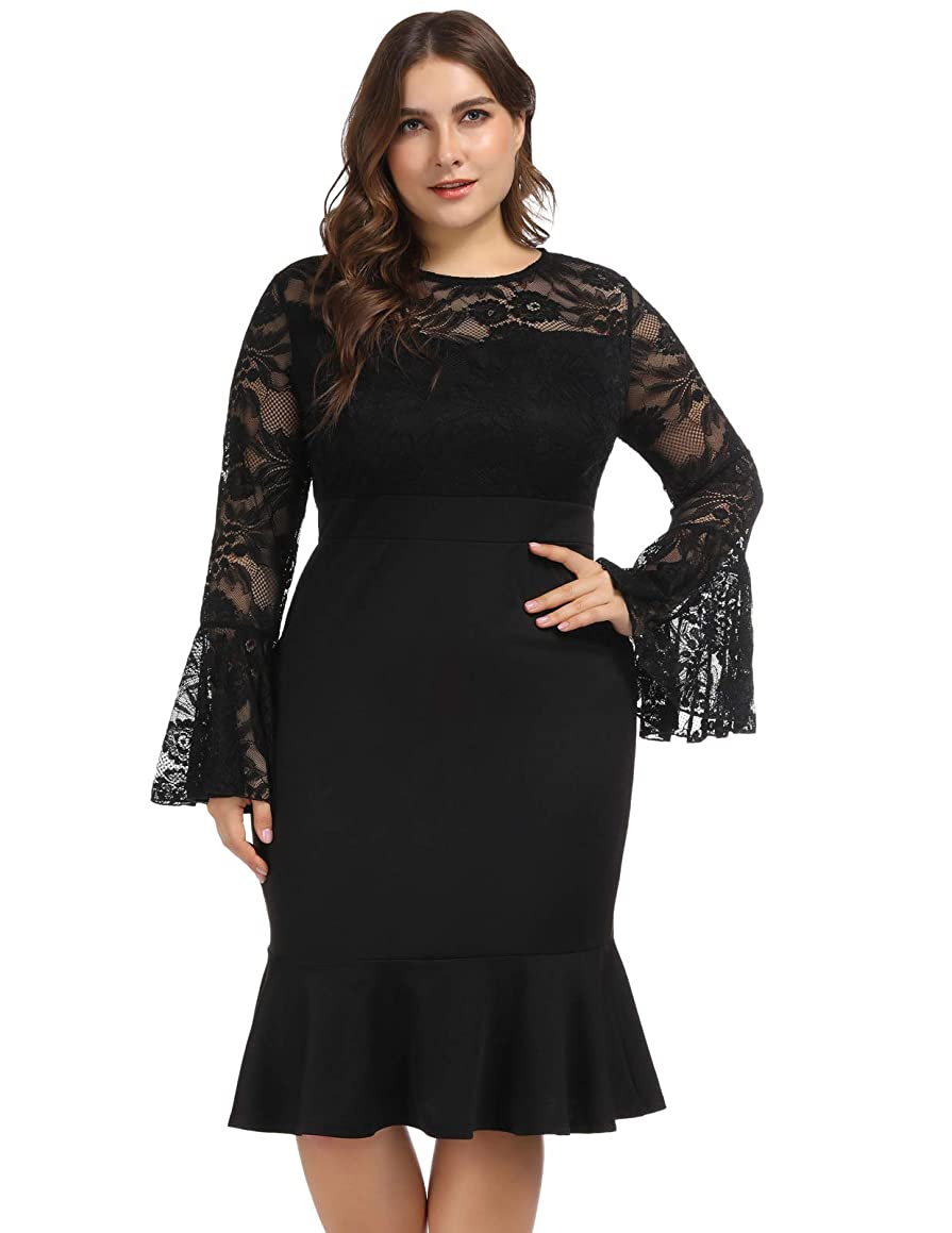 Hanna Nikole Women's Bell Sleeves Lace Top Plus Size Cocktail Party Mermaid Dress