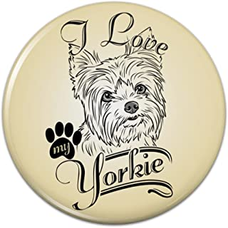 I Love My Yorkie Yorkshire Terrier Pinback Button Pin Badge - 1