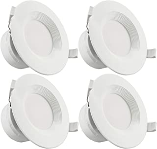 TORCHSTAR 4-Pack 4 Inch LED Recessed Downlight with Junction Box, 7W (60W Eqv.) Dimmable LED Ceiling Light Fixture, IC-Rated & Air Tight, Wet Location, 2700K Soft White, UL-Listed, 5 Years Warranty