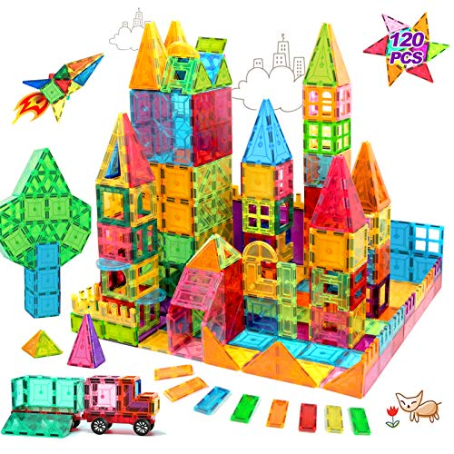 HOMOFY Kids Magnet Tiles Toys 2021 New Upgrade 120Pcs 3D Magnetic Building Blocks Magnetic Tiles, Inspiration Educational Building Construction Learning Gifts for 3 4 5 6 Year Old Boys Girls