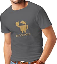 lepni.me Shirts for Men Android Eating The Apple -I Love Cool Tech Gadgets, Geek Nerd Humor