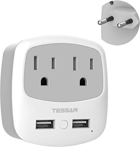 European Travel Plug Adapter, TESSAN International Power Adaptor with 2 USB 2 American Outlets, Europe Charger Adapte...