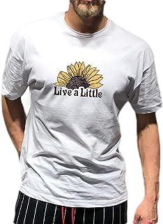 FSSE Men's Regular Fit Round Neck Printed Short Sleeve Cotton Casual T-Shirt Tee