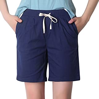 Chartou Women's Modest Loose Elastic-Waisted Bermuda Drawstring Casual Shorts