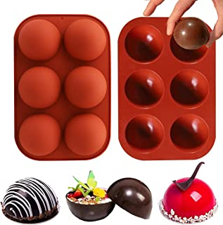 Sawyd Hot Chocolate Bomb Silicone Molds 6 Holes Semi Sphere Silicone Baking Mold for Chocolate, Cake, Mousse, Jelly, Dome,...