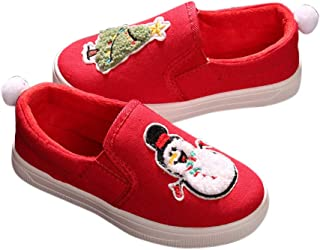 Hopscotch Girls Cloth Snowman and Christmas Applique Slip Ons in Red Color