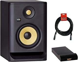 """KRK ROKIT 5 G4 5"""" 2-Way Active Studio Monitor with Isolation Pad (Small) & XLR Cable Bundle"""
