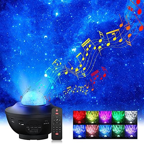 Sternenhimmel Projektor, Elekin LED Sternenprojektor Lampe mit Fernbedienung Starry Stern Mond, Wasserwellen-Welleneffekt, Bluetooth Lautsprecher Perfekt für Party Weihnachten Halloween Geschenke