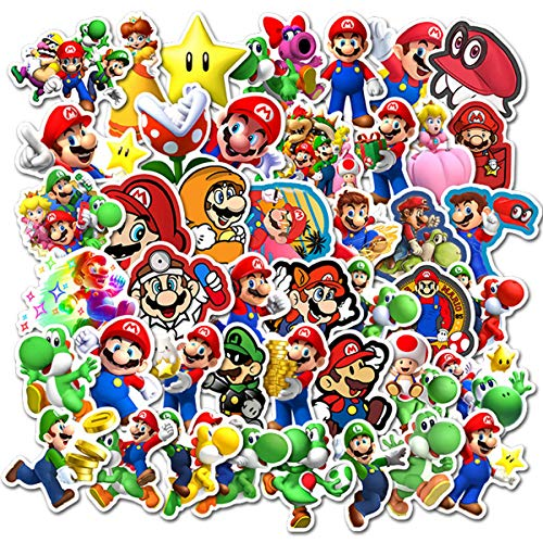 Super M_Ario Bros Stickers for Water Bottles 50 Pack Cute,Waterproof,Aesthetic,Trendy Stickers for Teens,Girls Perfect for Waterbottle,Laptop,Phone,Travel Extra Durable Vinyl (M_Ario )