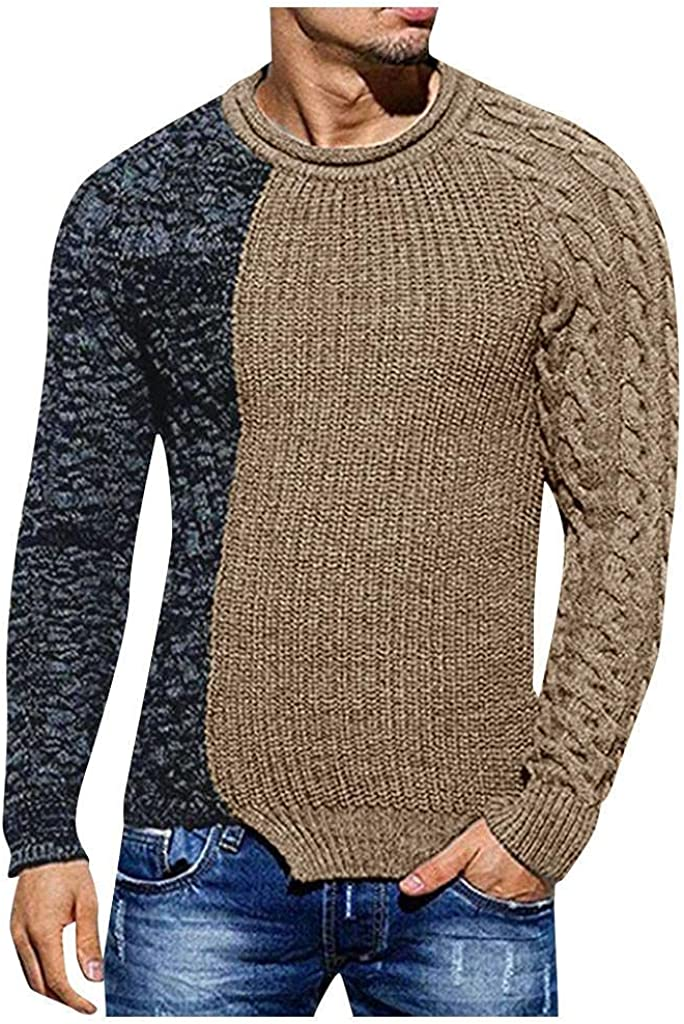 Sweaters for Men Fashion Men's Autumn Winter Crewneck Pullover Knitted Raglan Patchwork Long Sleeve Sweater Blouse Top