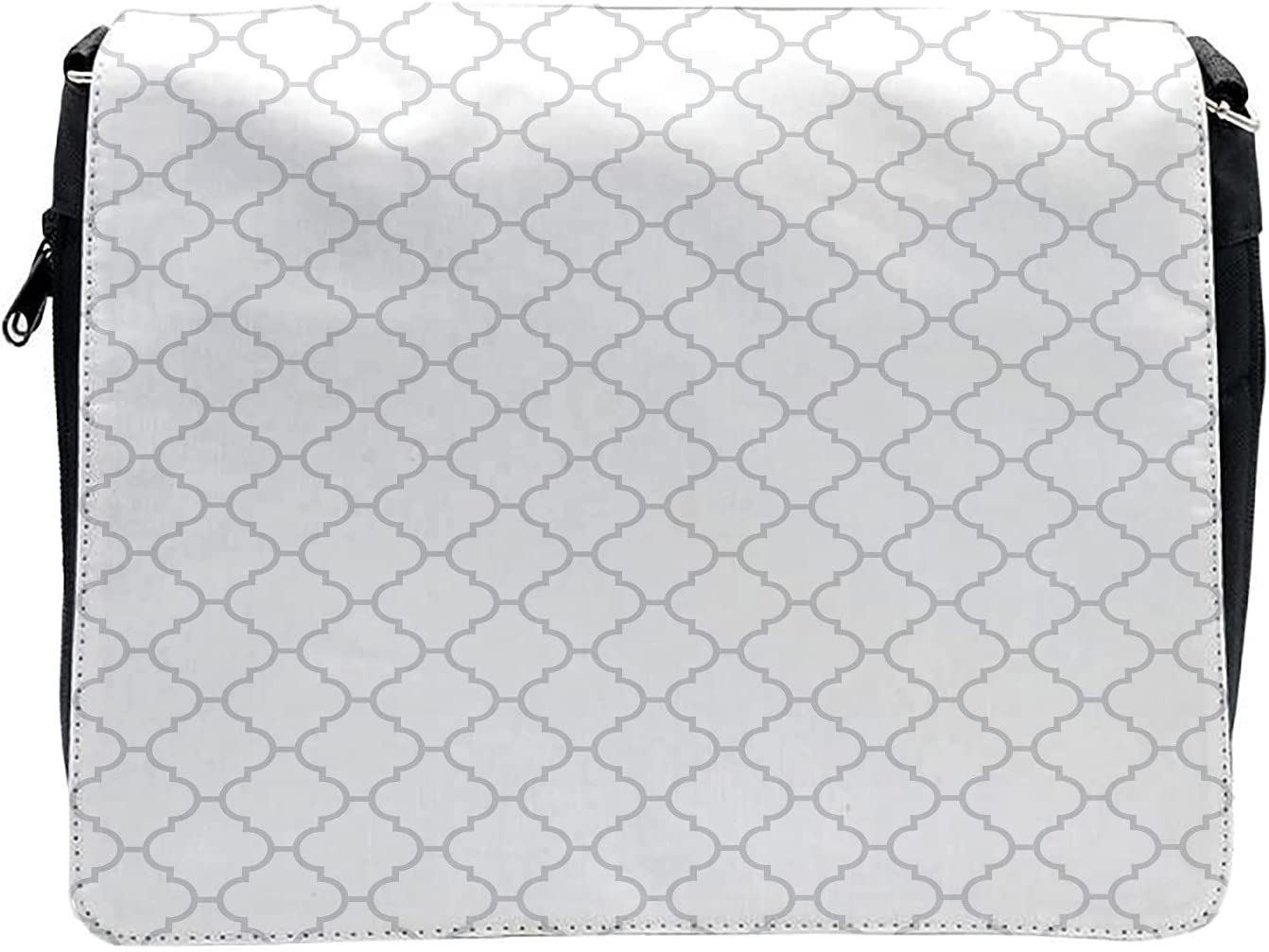 Ambesonne Grey Cross Body Messenger Bag, Monochrome Damask Pattern, Unisex