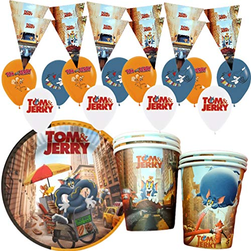 Combo # 34PC Combo 12PC Balloons+ 10PC Banner+ 6PC Cups + 6PC Plates Tom and Jerry Party Supplies Decoration Theme Birthday