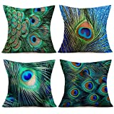 Fukeen Colorful Peacock Feather Decorative Throw Pillow Cases 4 Pcs Cotton Linen Standard 18x18 Inch Cushion Cover Natural Style for Home Sofa Couch Decor Pillowcase Green Blue