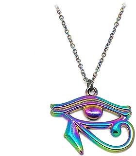 Joji Boutique Egyptian Collection: Rainbow-Effect Egyptian Eye of Horus Necklace